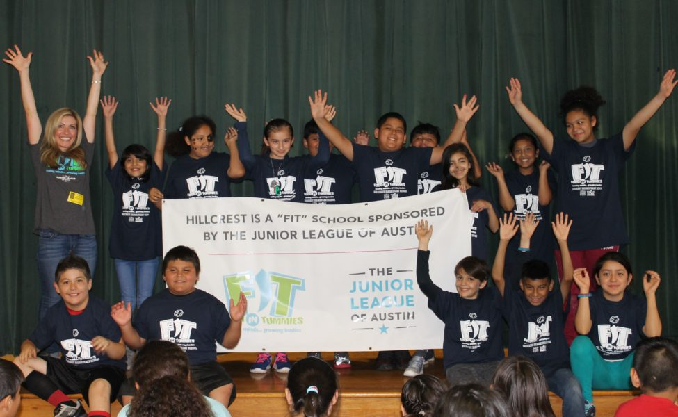 Junior League Member with Hillcrest Elementary students